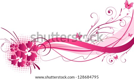 Hibiscus flowers with wave floral design in pink color - stock vector