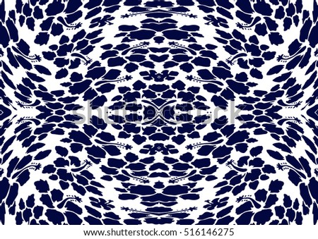 hibiscus pattern of blue on white background.
