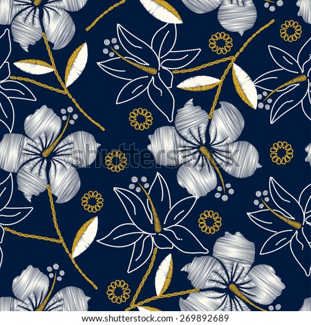 Hibiscus tropical embroidery navy seamless pattern . - stock vector