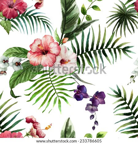 hibiscus, wallpaper, watercolor - stock vector