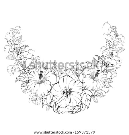Hibiscus wreath isolated on white background. Vector illustration. - stock vector