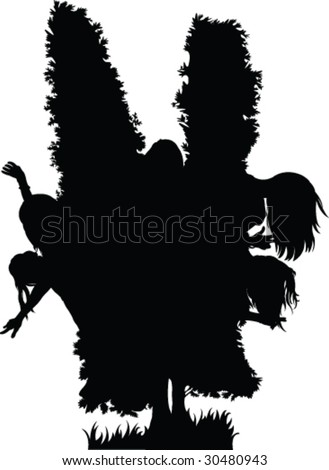 hide and seek silhouette - vector - stock vector