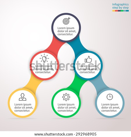 Hierarchical infographics step by step. Universal abstract element of chart, graph, diagram with 6 steps, options, parts, processes connected via bone. Vector business template for presentation. - stock vector