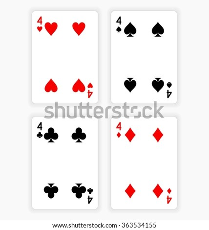 High Angle View of Four Playing Cards Spread Out on White Background Showing Fours from Each Suit - Hearts, Clubs, Spades and Diamonds