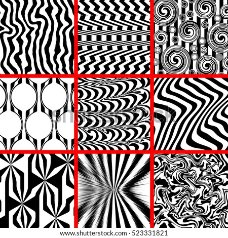 High contrast black and white background set monochrome distorted chaotic themes 3d