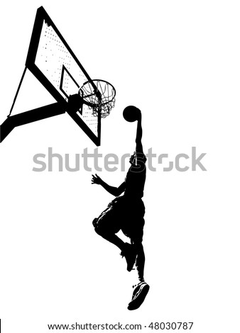 High contrast silhouette illustration of an athlete slam dunking a basketball. - stock vector