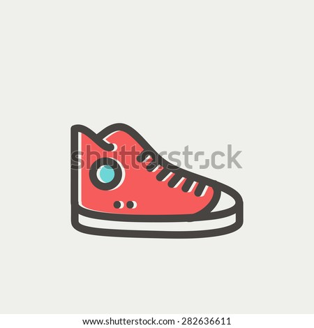 High cut rubber shoes icon thin line for web and mobile, modern minimalistic flat design. Vector icon with dark grey outline and offset colour on light grey background. - stock vector
