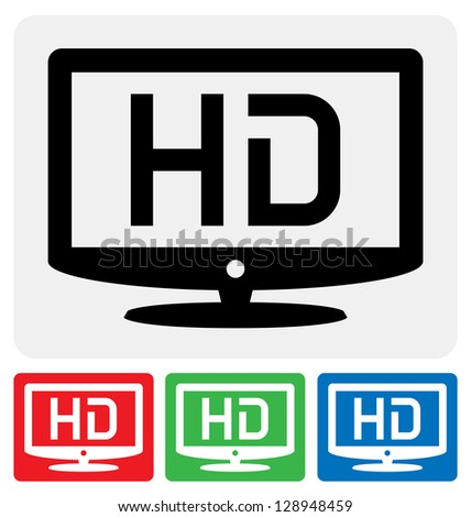 high definition television symbol / HDTV icon - stock vector