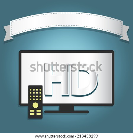 High definition tv with a ribbon for insert text. - stock vector