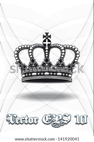 High definition vintage baroque crown isolated vector illustration in black and white with background - stock vector