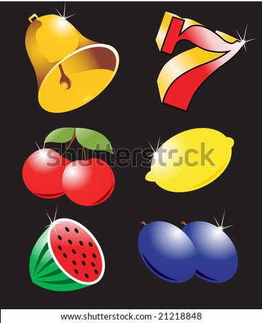 High detail casino icons vector - stock vector