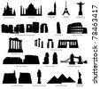 High Detail Landmarks Silhouette Set With Description of Title and Place. St. Basil Cathedral, Taj Mahal, Eiffel Tower, Campanile, Statue of Jesus, Coliseum, Pisa, Stonehenge.   Vector illustration. - stock vector