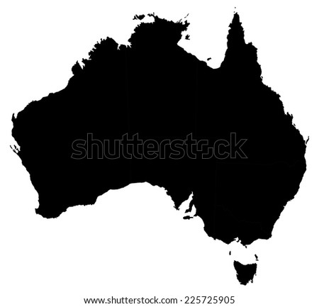 High detail map of Australia illustration (state devided) - stock vector