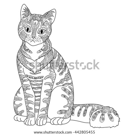 High Detail Patterned Cat In Zen Tangle Style Adult Coloring Page For Anti Stress Art