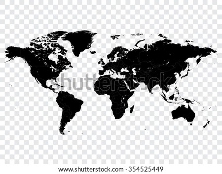 High detail vector Black map of the world with political boundaries.