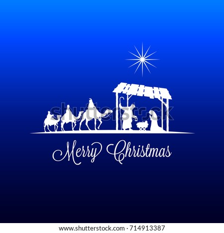 High Detail Vector Nativity Christmas Scene With Falling Star Graphics Merry Text On A