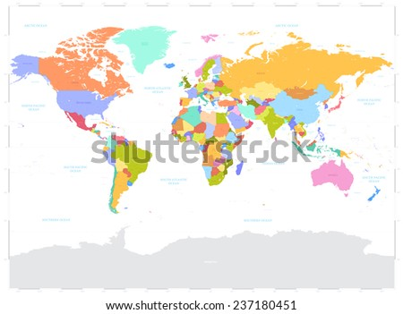 High Detail Vector Political World Map illustration, cleverly organized with layers. With Country, Capitals, Main Cities, Seas and Lakes names all on different layers. - stock vector