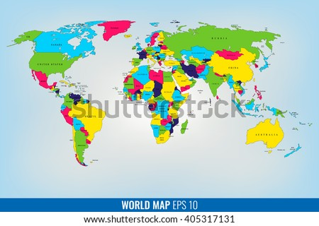 High Detail World Map. Geopolititcal. Vector Illustration - stock vector