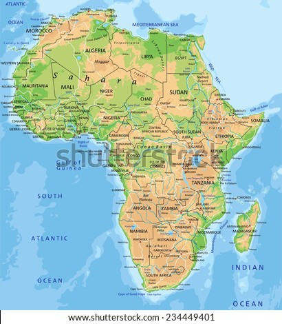 High detailed Africa physical map with labeling. - stock vector