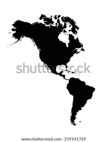 High detailed Americas silhouette map with labeling. - stock vector