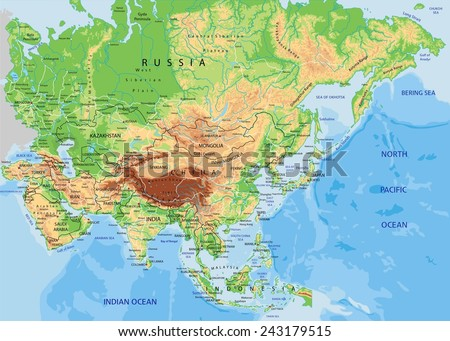 Asia Physical Map Retro White Rivers Stock Vector - Asia physical map