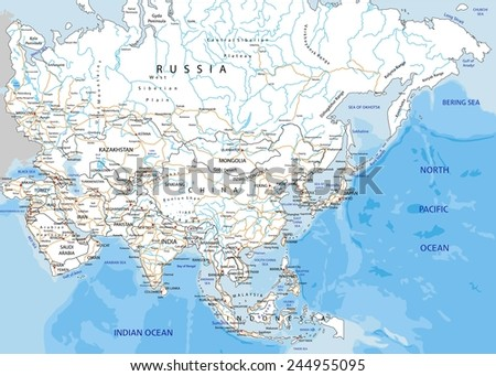 High detailed Asia road map with labeling. - stock vector