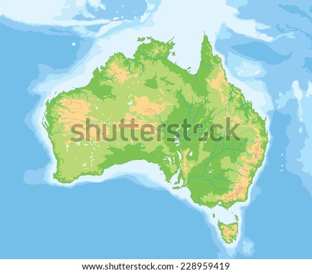 High detailed Australia physical map. - stock vector
