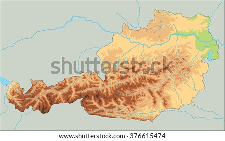 High Detailed Austria Physical Map Stock Vector - Austria physical map