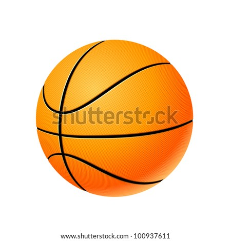 High detailed basketball ball isolated on white background, vector illustration