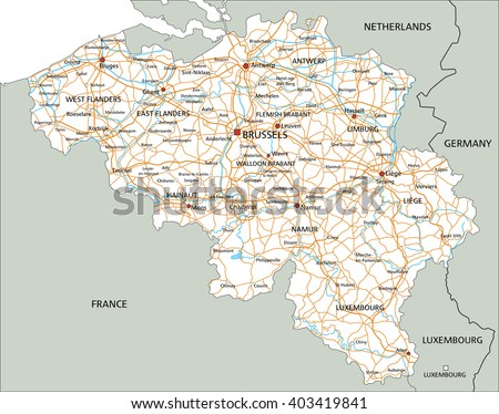 High detailed Belgium road map with labeling. - stock vector
