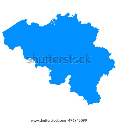 High detailed blue vector map - Belgium
