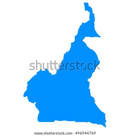 High detailed blue vector map - Cameroon