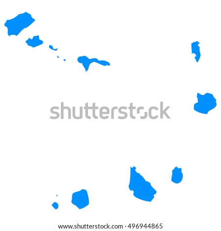 High detailed blue vector map - Cape Verde