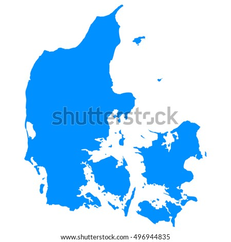 High detailed blue vector map - Denmark