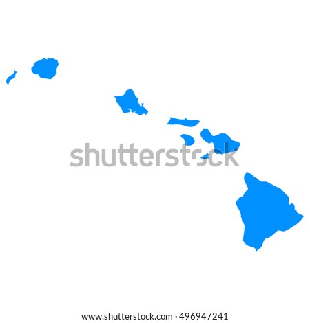 High detailed blue vector map, Hawaii