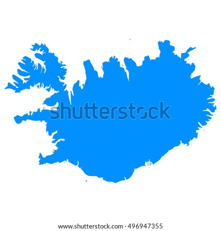 High detailed blue vector map, Iceland