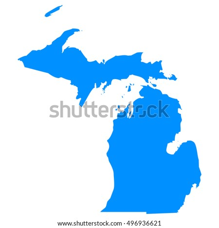 High detailed blue vector map - Michigan