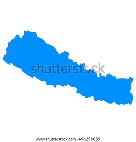 High detailed blue vector map - Nepal