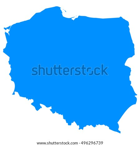 High detailed blue vector map - Poland