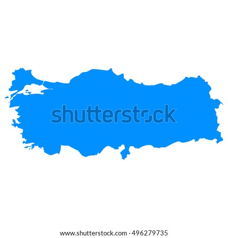 High detailed blue vector map - Turkey