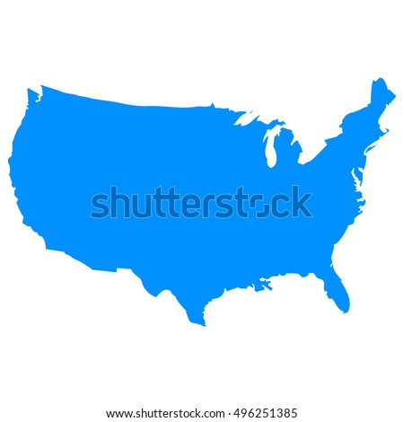 High detailed blue vector map - United States