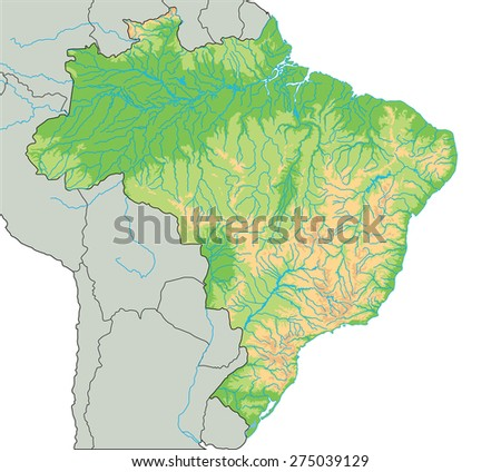 High Detailed Brazil Physical Map Stock Vector - Brazil physical map