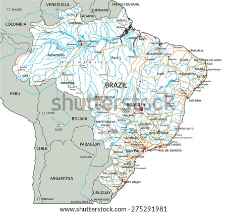 High detailed Brazil road map with labeling.