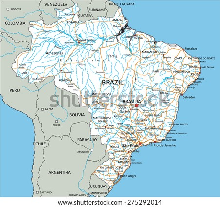 High Detailed Brazil Road Map Labeling Stock Vector 275292014