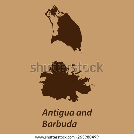 High detailed brown vector map - Antigua and Barbuda - stock vector