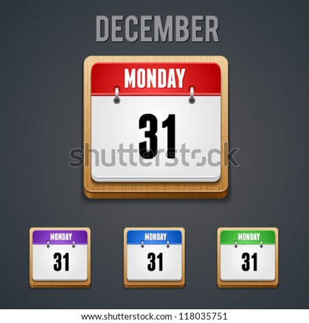 High detailed 31 december calendar icon. This vector image is fully editable. - stock vector