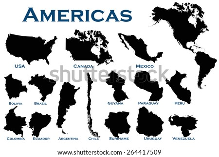 High detailed editable illustration of all North and South American countries. - stock vector
