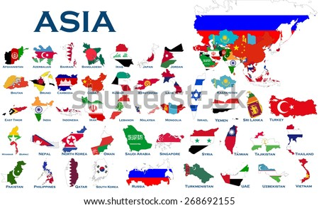 High detailed, editable maps and flags on white background of all Asian countries. - stock vector
