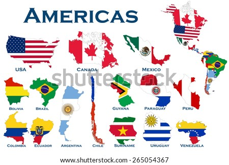 High detailed editable maps flags on stock photo photo vector high detailed editable maps and flags on white background of all north and south american gumiabroncs Choice Image