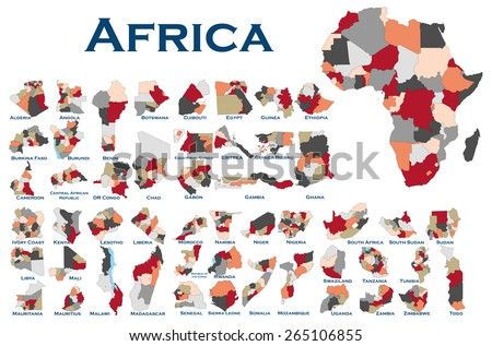 High detailed editable, political map of all African countries. - stock vector